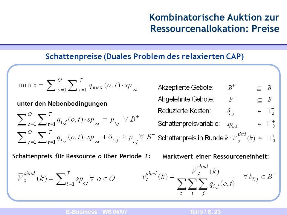 E-Business WS 06/07 Teil 5 / S. 23 Schattenpreise (Duales Problem des relaxierten CAP) Kombinatorische Auktion zur Ressourcenallokation: Preise Schatt