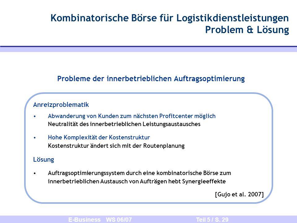 E-Business WS 06/07 Teil 5 / S. 29 Kombinatorische Börse für Logistikdienstleistungen Problem & Lösung Probleme der innerbetrieblichen Auftragsoptimie