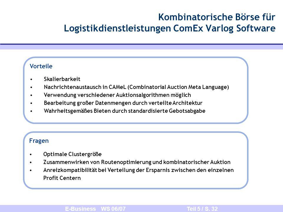 E-Business WS 06/07 Teil 5 / S. 32 Kombinatorische Börse für Logistikdienstleistungen ComEx Varlog Software Vorteile Skalierbarkeit Nachrichtenaustaus