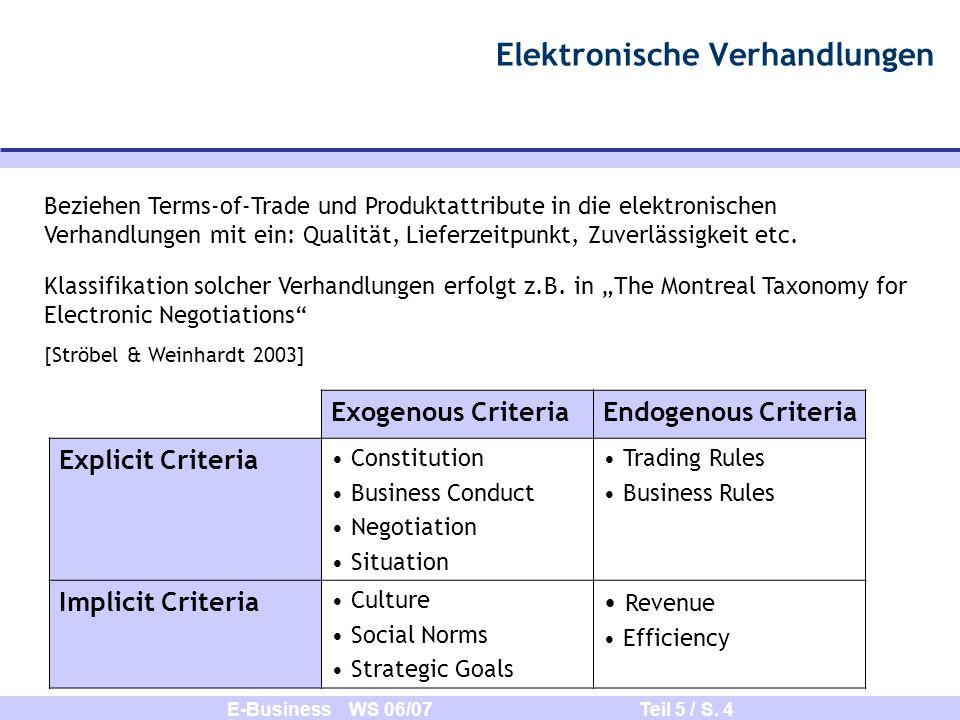 E-Business WS 06/07 Teil 5 / S. 4 Elektronische Verhandlungen Beziehen Terms-of-Trade und Produktattribute in die elektronischen Verhandlungen mit ein