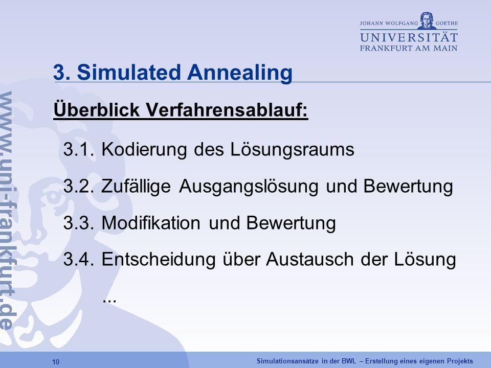 Simulationsansätze in der BWL – Erstellung eines eigenen Projekts 10 3. Simulated Annealing Überblick Verfahrensablauf: 3.1.Kodierung des Lösungsraums