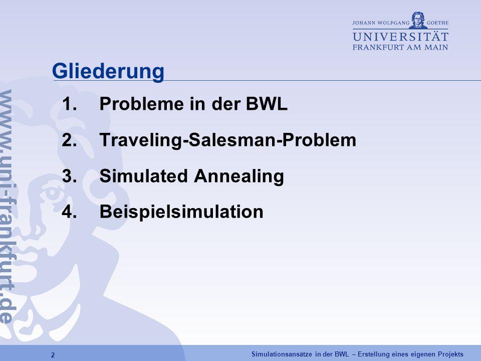 Simulationsansätze in der BWL – Erstellung eines eigenen Projekts 2 Gliederung 1.Probleme in der BWL 2.Traveling-Salesman-Problem 3.Simulated Annealin