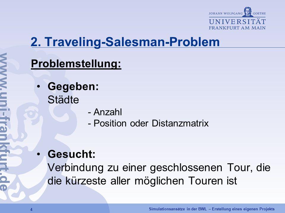 Simulationsansätze in der BWL – Erstellung eines eigenen Projekts 4 2. Traveling-Salesman-Problem Problemstellung: Gegeben: Städte - Anzahl - Position