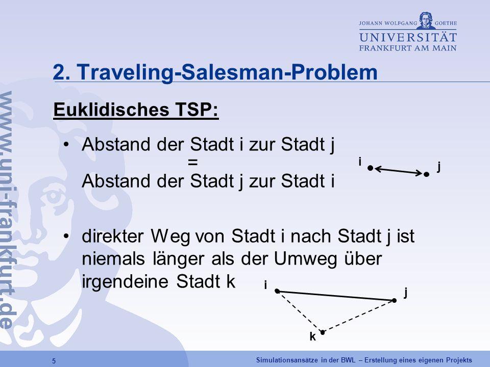 Simulationsansätze in der BWL – Erstellung eines eigenen Projekts 5 2. Traveling-Salesman-Problem Euklidisches TSP: Abstand der Stadt i zur Stadt j =