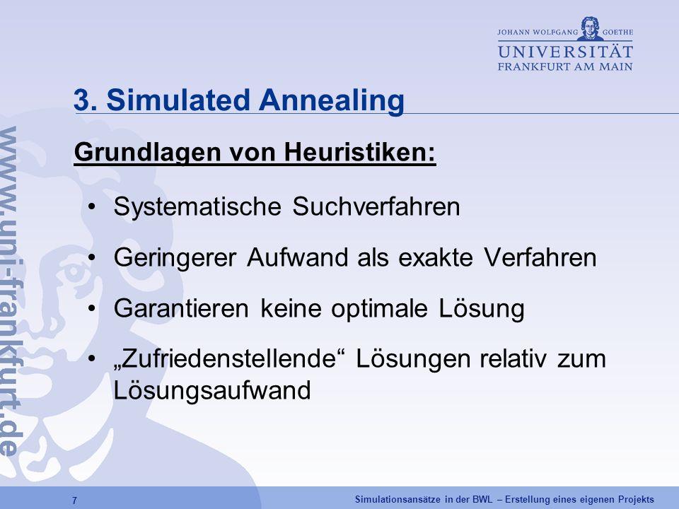 Simulationsansätze in der BWL – Erstellung eines eigenen Projekts 7 3. Simulated Annealing Grundlagen von Heuristiken: Systematische Suchverfahren Ger