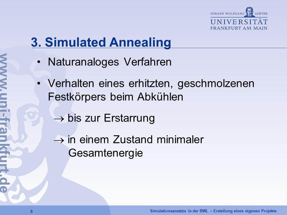 Simulationsansätze in der BWL – Erstellung eines eigenen Projekts 8 3. Simulated Annealing Naturanaloges Verfahren Verhalten eines erhitzten, geschmol
