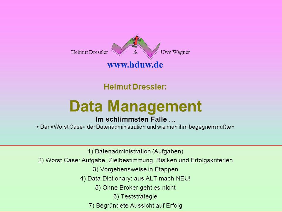 Folie: 1 © by Dressler & Wagner Mai 2002DATA MANAGEMENT Im schlimmsten Falle … Helmut Dressler: Data Management Im schlimmsten Falle … Der »Worst Case