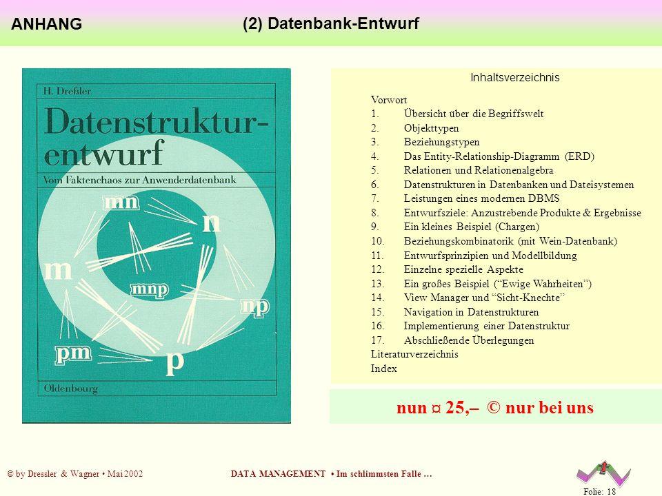 Folie: 18 © by Dressler & Wagner Mai 2002DATA MANAGEMENT Im schlimmsten Falle … (2) Datenbank-Entwurf ANHANG Inhaltsverzeichnis Vorwort 1. Übersicht ü