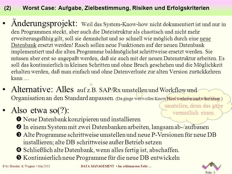 Folie: 3 © by Dressler & Wagner Mai 2002DATA MANAGEMENT Im schlimmsten Falle … Worst Case: Aufgabe, Zielbestimmung, Risiken und Erfolgskriterien (2) Ä