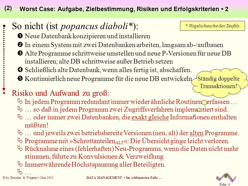 Folie: 4 © by Dressler & Wagner Mai 2002DATA MANAGEMENT Im schlimmsten Falle … Worst Case: Aufgabe, Zielbestimmung, Risiken und Erfolgskriterien 2 (2)
