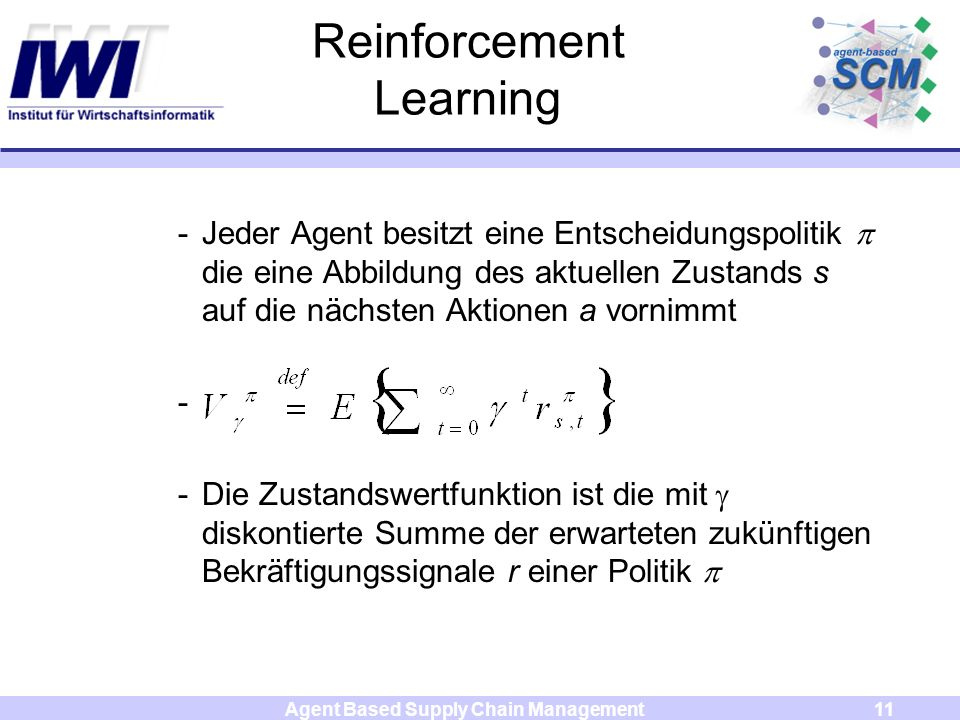 Agent Based Supply Chain Management11 Reinforcement Learning -Jeder Agent besitzt eine Entscheidungspolitik die eine Abbildung des aktuellen Zustands s auf die nächsten Aktionen a vornimmt - -Die Zustandswertfunktion ist die mit diskontierte Summe der erwarteten zukünftigen Bekräftigungssignale r einer Politik