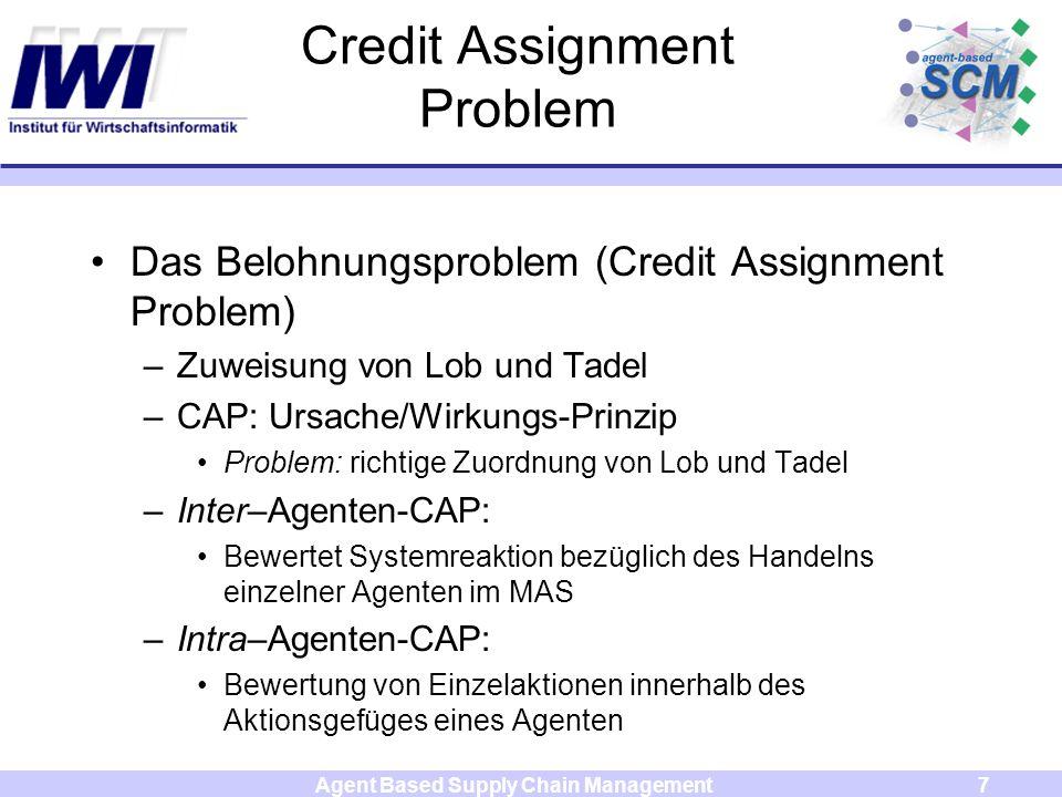 Agent Based Supply Chain Management7 Credit Assignment Problem Das Belohnungsproblem (Credit Assignment Problem) –Zuweisung von Lob und Tadel –CAP: Ur