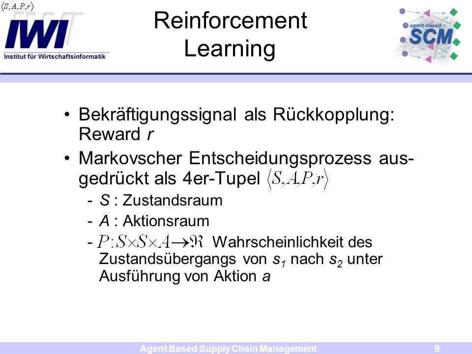Agent Based Supply Chain Management9 Reinforcement Learning Bekräftigungssignal als Rückkopplung: Reward r Markovscher Entscheidungsprozess aus- gedrückt als 4er-Tupel -S : Zustandsraum -A : Aktionsraum - Wahrscheinlichkeit des Zustandsübergangs von s 1 nach s 2 unter Ausführung von Aktion a