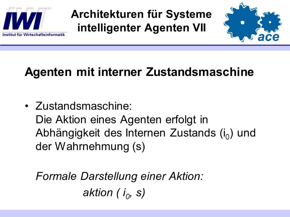 Architekturen für Systeme intelligenter Agenten VII Agenten mit interner Zustandsmaschine Zustandsmaschine: Die Aktion eines Agenten erfolgt in Abhäng