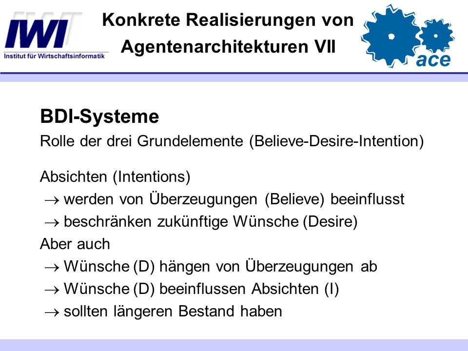 Konkrete Realisierungen von Agentenarchitekturen VII BDI-Systeme Rolle der drei Grundelemente (Believe-Desire-Intention) Absichten (Intentions) werden