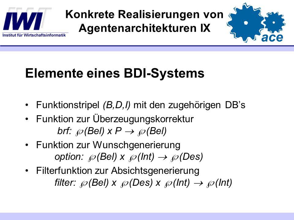 Konkrete Realisierungen von Agentenarchitekturen IX Elemente eines BDI-Systems Funktionstripel (B,D,I) mit den zugehörigen DBs Funktion zur Überzeugun