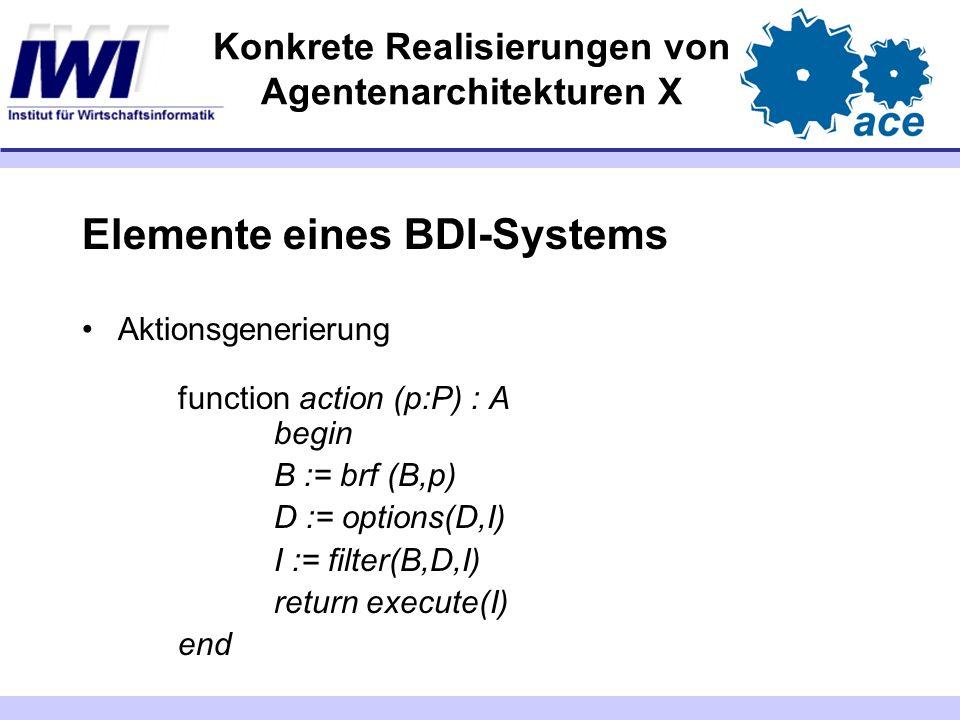Konkrete Realisierungen von Agentenarchitekturen X Elemente eines BDI-Systems Aktionsgenerierung function action (p:P) : A begin B := brf (B,p) D := o