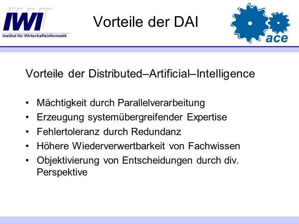 Vorteile der DAI Vorteile der Distributed–Artificial–Intelligence Mächtigkeit durch Parallelverarbeitung Erzeugung systemübergreifender Expertise Fehl