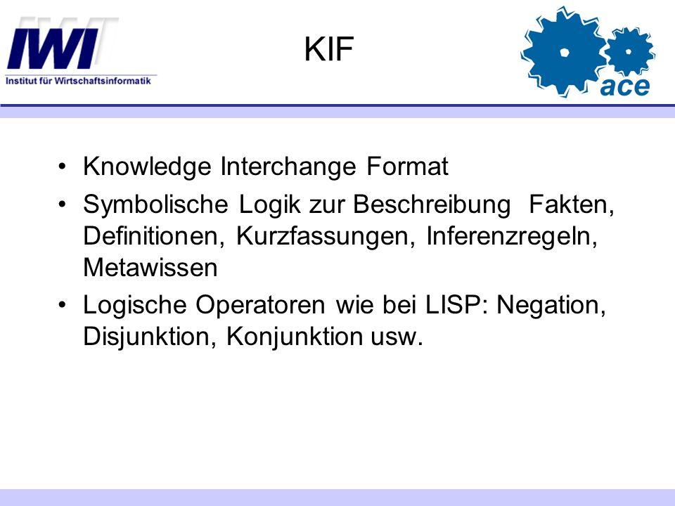 KIF Knowledge Interchange Format Symbolische Logik zur Beschreibung Fakten, Definitionen, Kurzfassungen, Inferenzregeln, Metawissen Logische Operatore