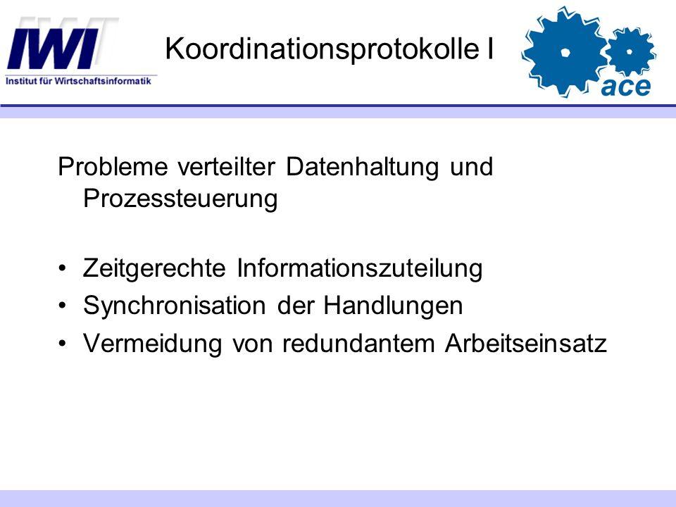 Koordinationsprotokolle I Probleme verteilter Datenhaltung und Prozessteuerung Zeitgerechte Informationszuteilung Synchronisation der Handlungen Verme
