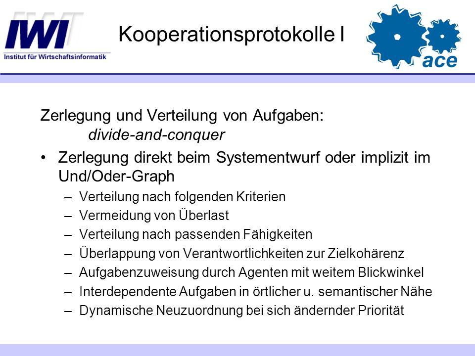 Kooperationsprotokolle I Zerlegung und Verteilung von Aufgaben: divide-and-conquer Zerlegung direkt beim Systementwurf oder implizit im Und/Oder-Graph