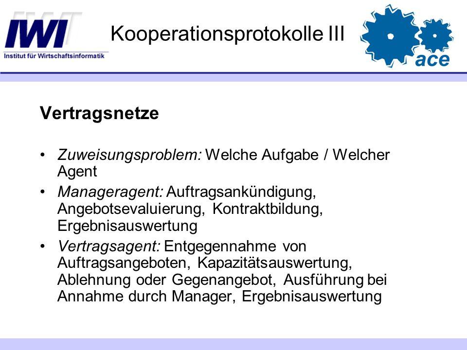 Kooperationsprotokolle III Vertragsnetze Zuweisungsproblem: Welche Aufgabe / Welcher Agent Manageragent: Auftragsankündigung, Angebotsevaluierung, Kon