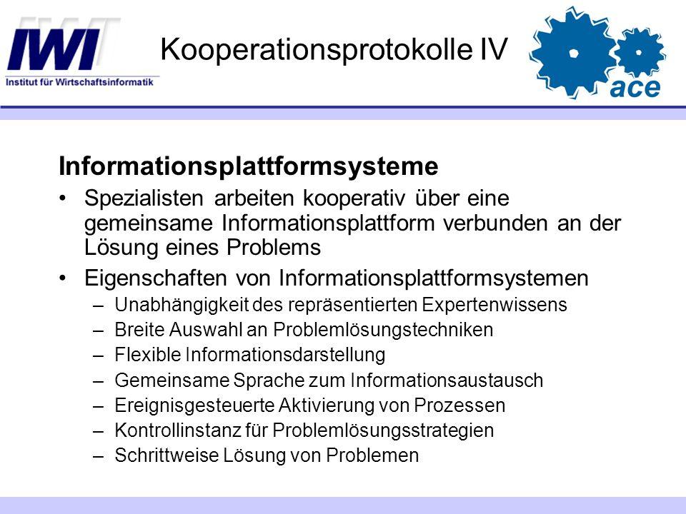 Kooperationsprotokolle IV Informationsplattformsysteme Spezialisten arbeiten kooperativ über eine gemeinsame Informationsplattform verbunden an der Lö