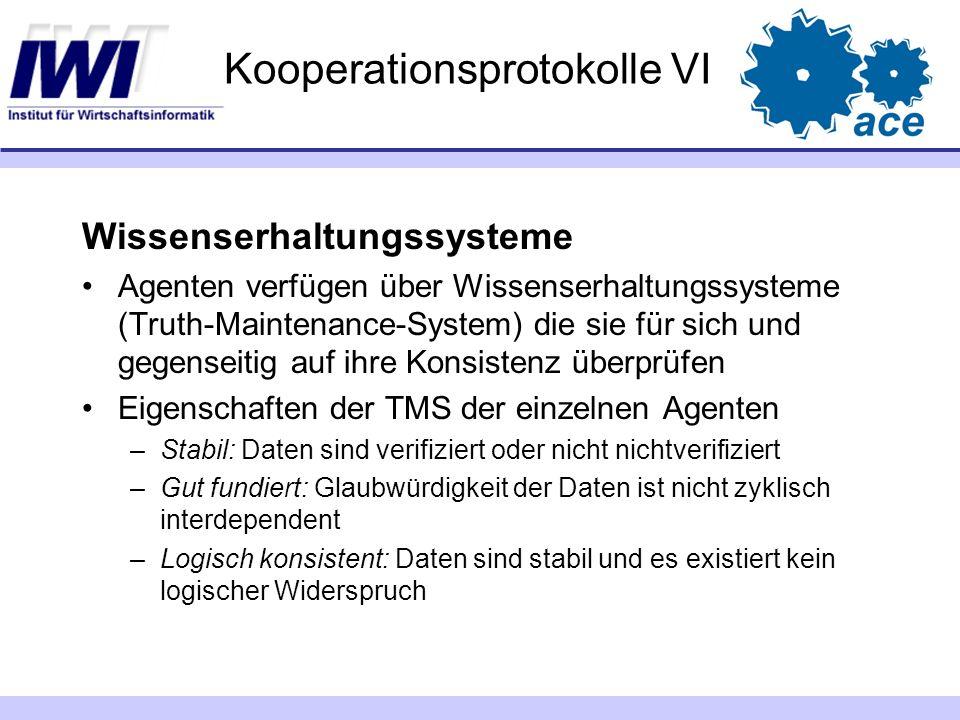 Kooperationsprotokolle VI Wissenserhaltungssysteme Agenten verfügen über Wissenserhaltungssysteme (Truth-Maintenance-System) die sie für sich und gege