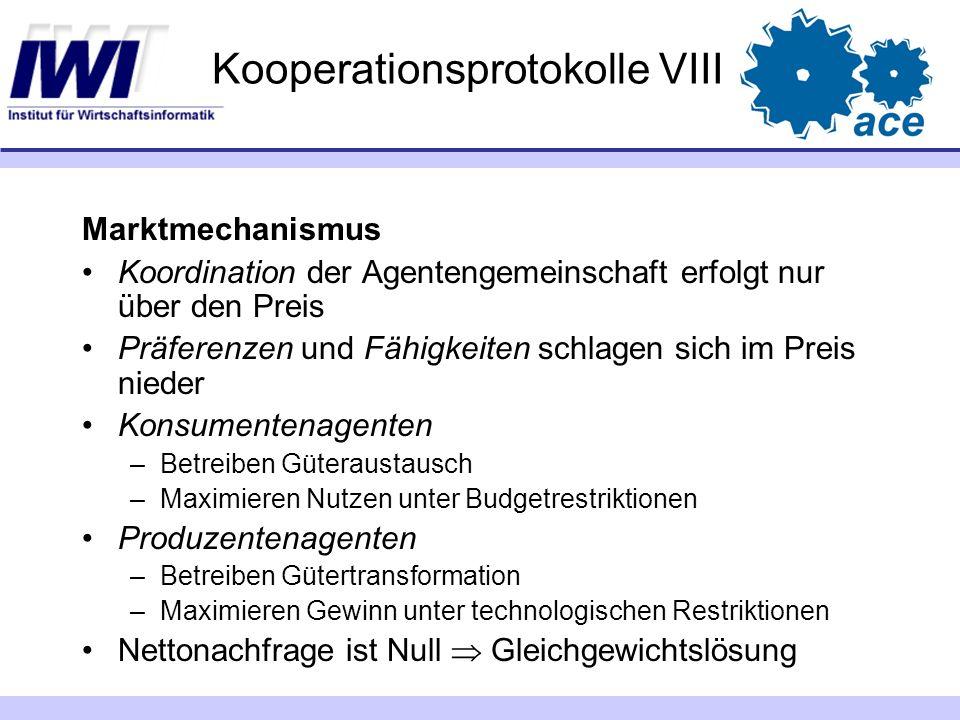Kooperationsprotokolle VIII Marktmechanismus Koordination der Agentengemeinschaft erfolgt nur über den Preis Präferenzen und Fähigkeiten schlagen sich