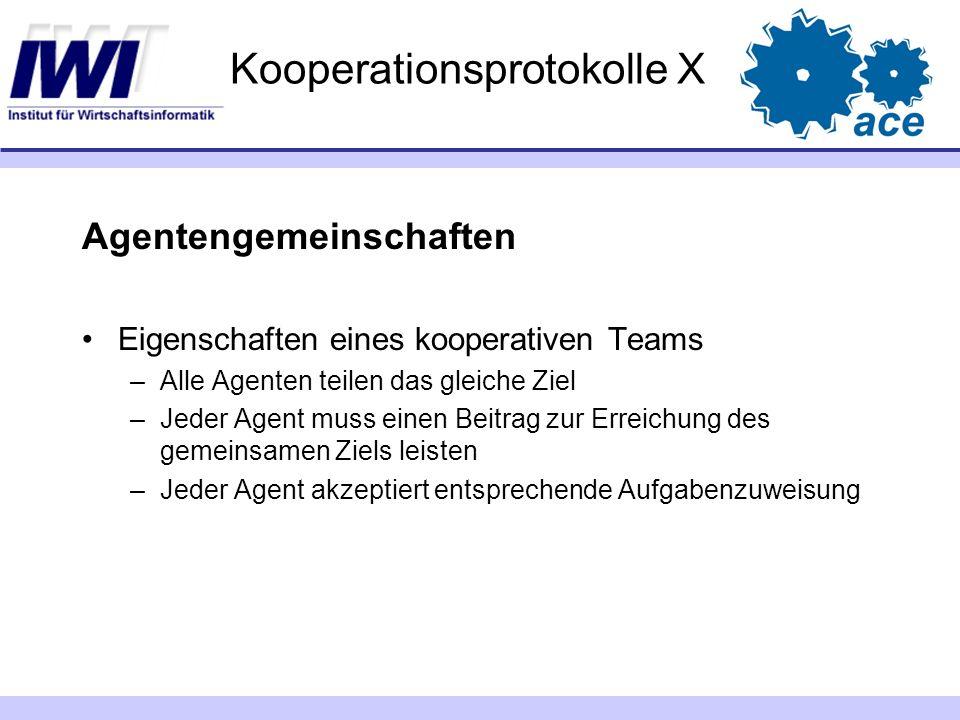Kooperationsprotokolle X Agentengemeinschaften Eigenschaften eines kooperativen Teams –Alle Agenten teilen das gleiche Ziel –Jeder Agent muss einen Be