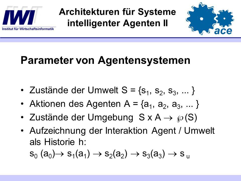 Architekturen für Systeme intelligenter Agenten II Parameter von Agentensystemen Zustände der Umwelt S = {s 1, s 2, s 3,... } Aktionen des Agenten A =