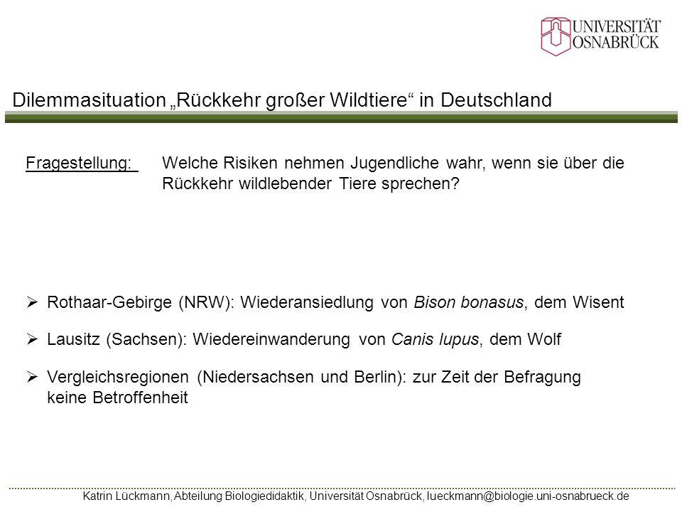 Katrin Lückmann, Abteilung Biologiedidaktik, Universität Osnabrück, lueckmann@biologie.uni-osnabrueck.de Fragestellung: Welche Risiken nehmen Jugendli