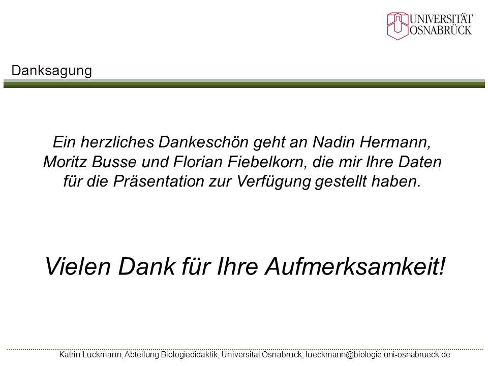 Katrin Lückmann, Abteilung Biologiedidaktik, Universität Osnabrück, lueckmann@biologie.uni-osnabrueck.de Ein herzliches Dankeschön geht an Nadin Herma