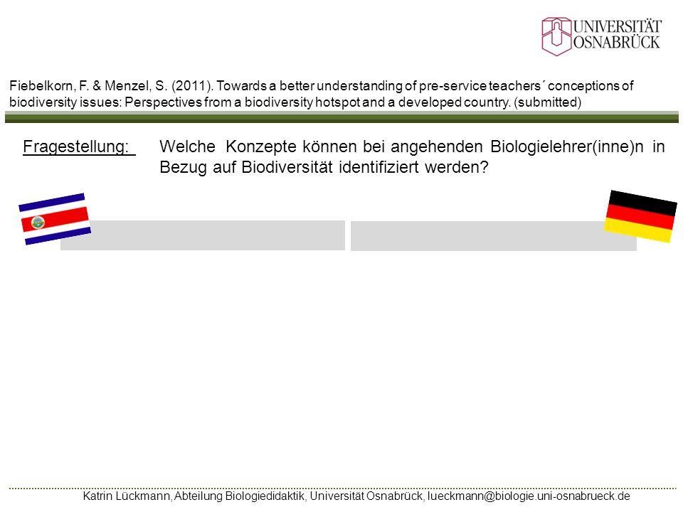 Katrin Lückmann, Abteilung Biologiedidaktik, Universität Osnabrück, lueckmann@biologie.uni-osnabrueck.de Fiebelkorn, F. & Menzel, S. (2011). Towards a