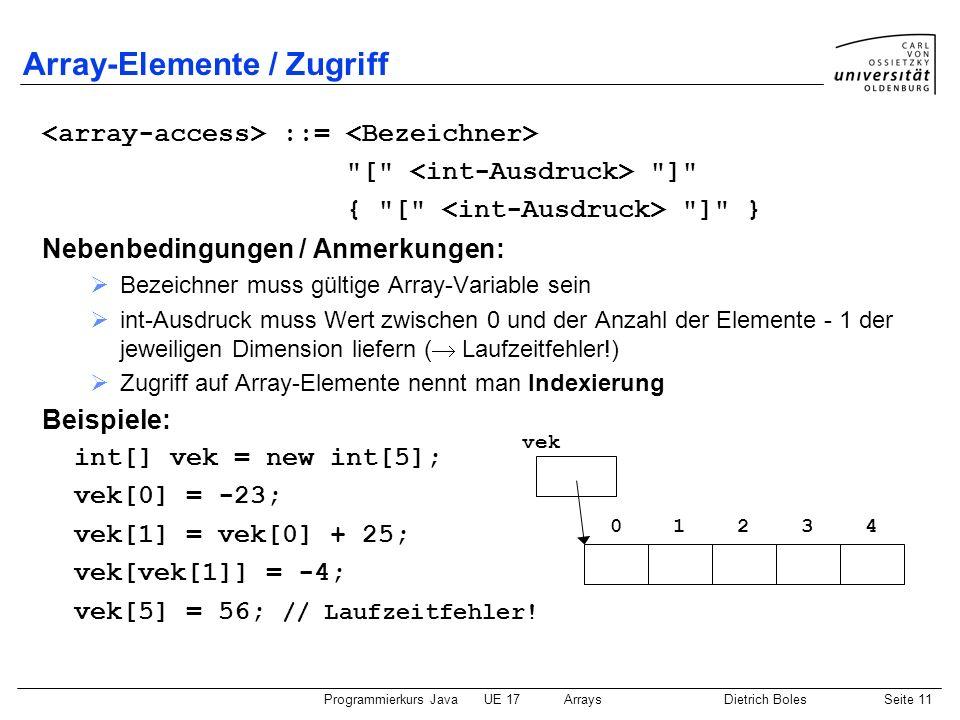 Programmierkurs JavaUE 17ArraysDietrich BolesSeite 11 Array-Elemente / Zugriff ::=
