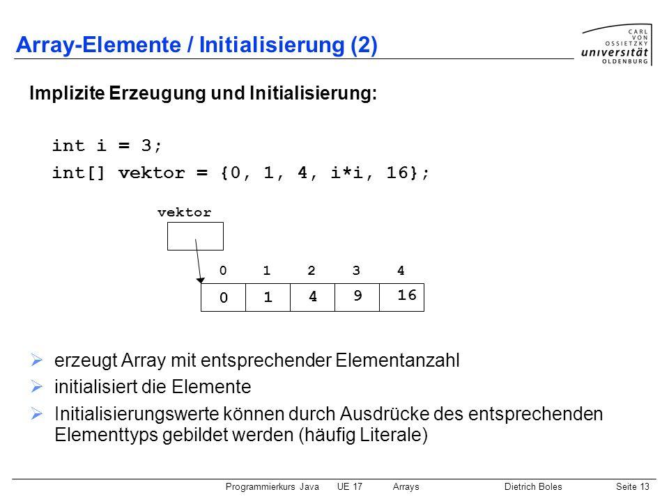 Programmierkurs JavaUE 17ArraysDietrich BolesSeite 13 Array-Elemente / Initialisierung (2) Implizite Erzeugung und Initialisierung: int i = 3; int[] v