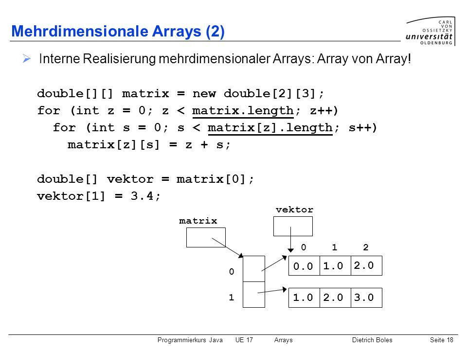 Programmierkurs JavaUE 17ArraysDietrich BolesSeite 18 Mehrdimensionale Arrays (2) Interne Realisierung mehrdimensionaler Arrays: Array von Array! doub
