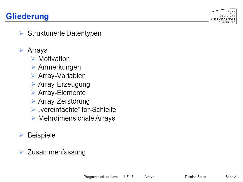 Programmierkurs JavaUE 17ArraysDietrich BolesSeite 2 Gliederung Strukturierte Datentypen Arrays Motivation Anmerkungen Array-Variablen Array-Erzeugung