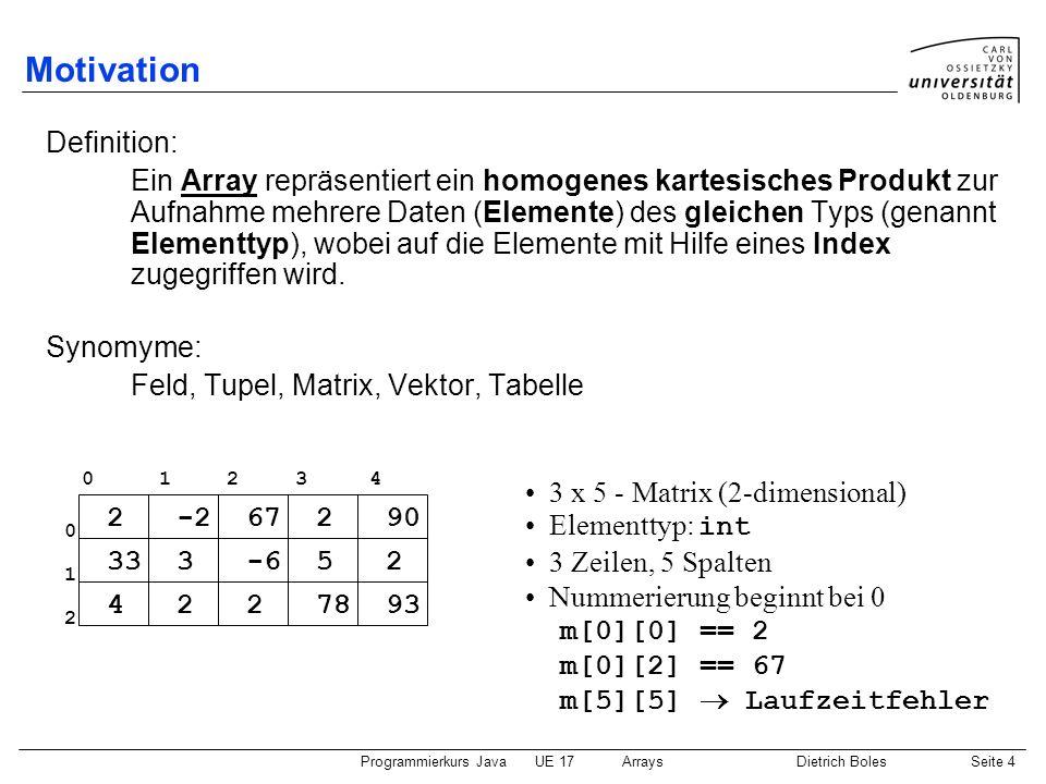 Programmierkurs JavaUE 17ArraysDietrich BolesSeite 15 vereinfachte for-Schleife (1) Beispiel: Berechnen der Summe eines Zahlen-Arrays public static void main(String[] args) { int[] zahlen = {2, 4, 6, 5, 1, 2}; System.out.println(summe(zahlen)); } static int summe(int[] zahlen) { int sum = 0; for (int i = 0; i < zahlen.length; i++) { sum += zahlen[i]; } return sum; } Durchlauf über alle Array-Elemente