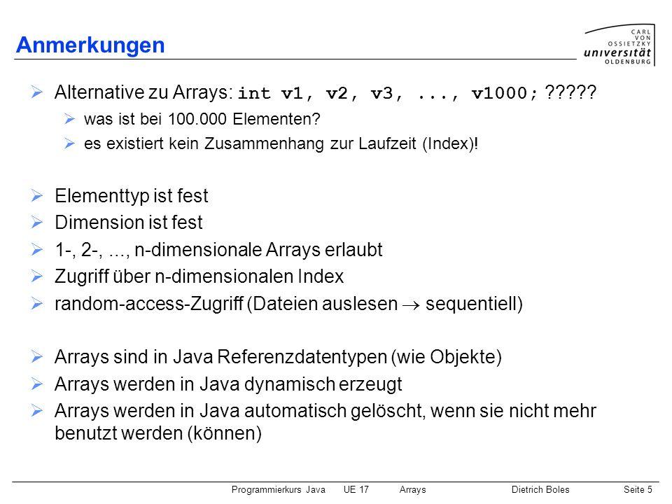 Programmierkurs JavaUE 17ArraysDietrich BolesSeite 16 vereinfachte for-Schleife (2) Beispiel: Berechnen der Summe eines Zahlen-Arrays public static void main(String[] args) { int[] zahlen = {2, 4, 6, 5, 1, 2}; System.out.println(summeNeu(zahlen)); } static int summeNeu(int[] zahlen) { int sum = 0; for (int zahl : zahlen) { sum += zahl; } return sum; } Durchlauf über alle Array-Elemente beginnend bei 0 for ( : ) { nimmt Wert des jeweiligen Elementes an }