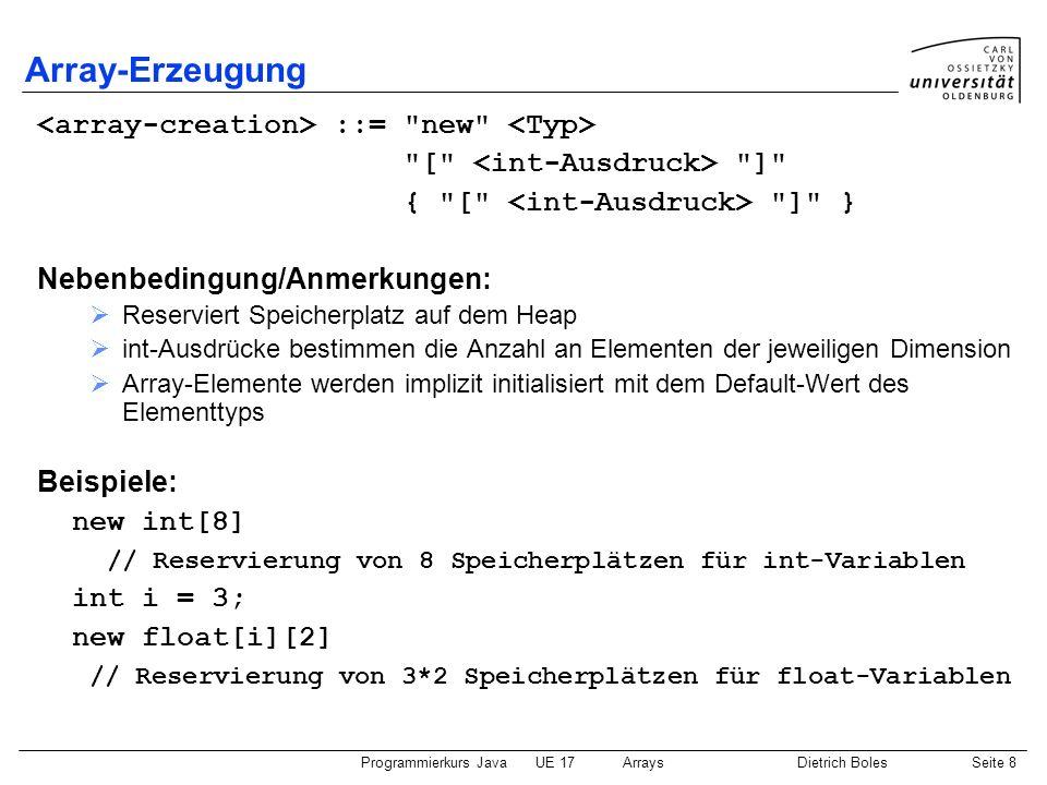 Programmierkurs JavaUE 17ArraysDietrich BolesSeite 9 Array-Erzeugung / Array-Variablen-Zuweisung Nebenbedingung/Anmerkungen: Elementtyp der Array-Variablen und Elementtyp des Arrays müssen gleich sein.