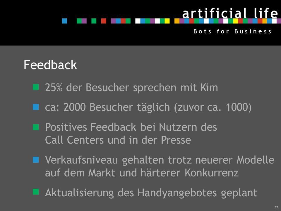 27 B o t s f o r B u s i n e s s Feedback 25% der Besucher sprechen mit Kim ca: 2000 Besucher täglich (zuvor ca. 1000) Positives Feedback bei Nutzern