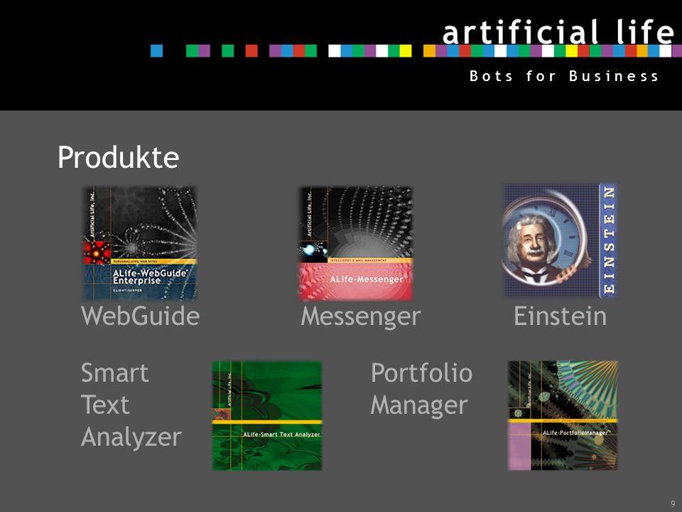 9 B o t s f o r B u s i n e s s Produkte WebGuide Messenger Einstein Smart Text Analyzer Portfolio Manager