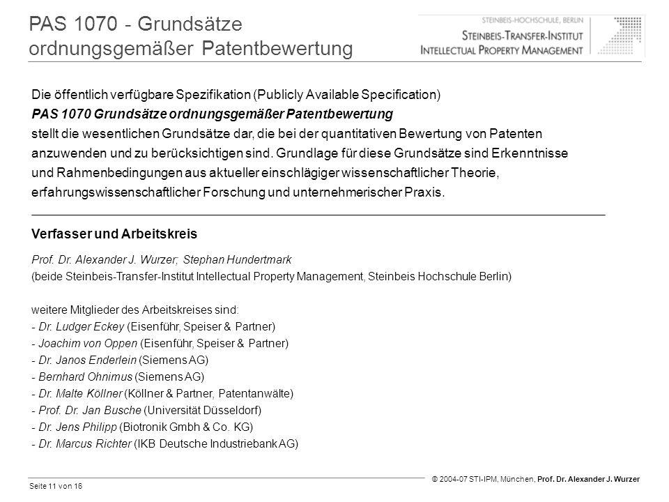 Seite 11 von 16 © 2004-07 STI-IPM, München, Prof. Dr. Alexander J. Wurzer PAS 1070 - Grundsätze ordnungsgemäßer Patentbewertung Verfasser und Arbeitsk