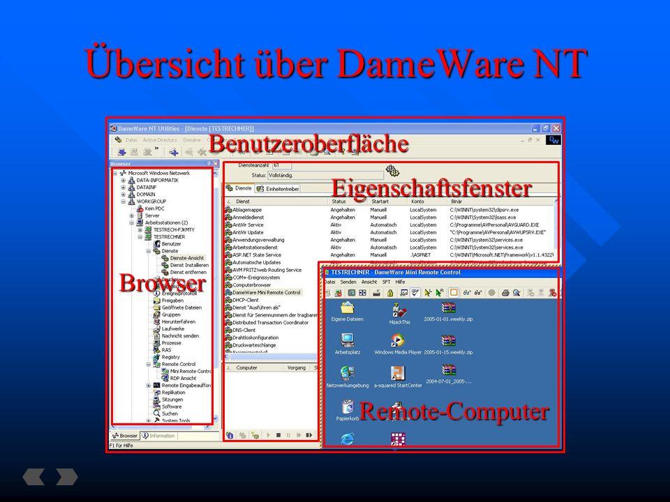 Übersicht über DameWare NT Remote-Computer Browser Benutzeroberfläche Eigenschaftsfenster