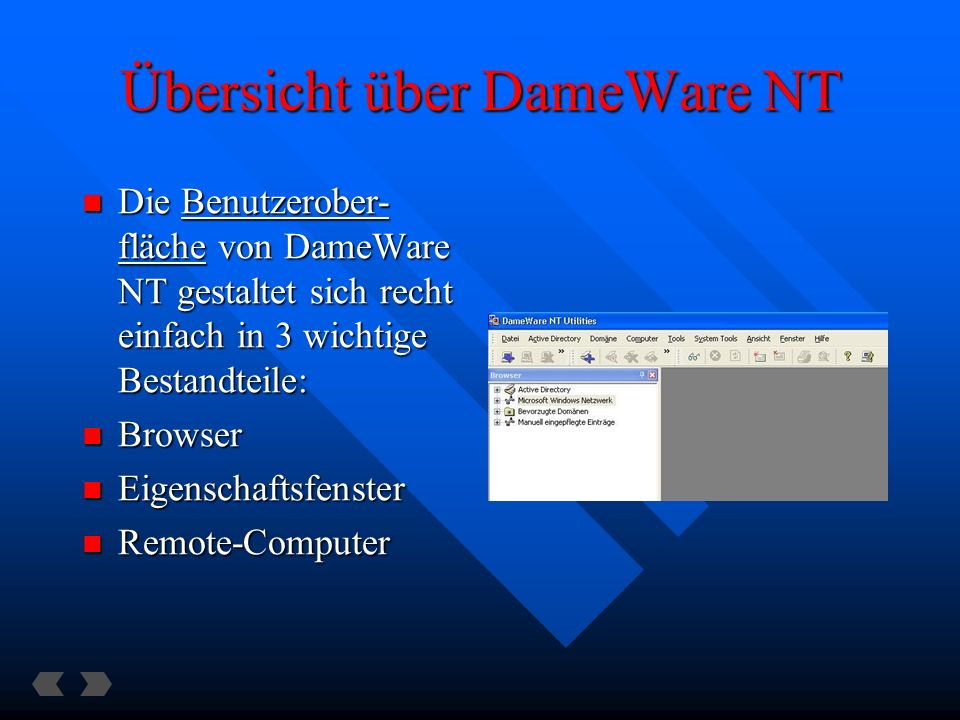 Die Benutzerober- fläche von DameWare NT gestaltet sich recht einfach in 3 wichtige Bestandteile: Die Benutzerober- fläche von DameWare NT gestaltet sich recht einfach in 3 wichtige Bestandteile: Browser Browser Eigenschaftsfenster Eigenschaftsfenster Remote-Computer Remote-Computer