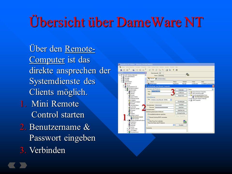 Übersicht über DameWare NT Über den Remote- Computer ist das direkte ansprechen der Systemdienste des Clients möglich.