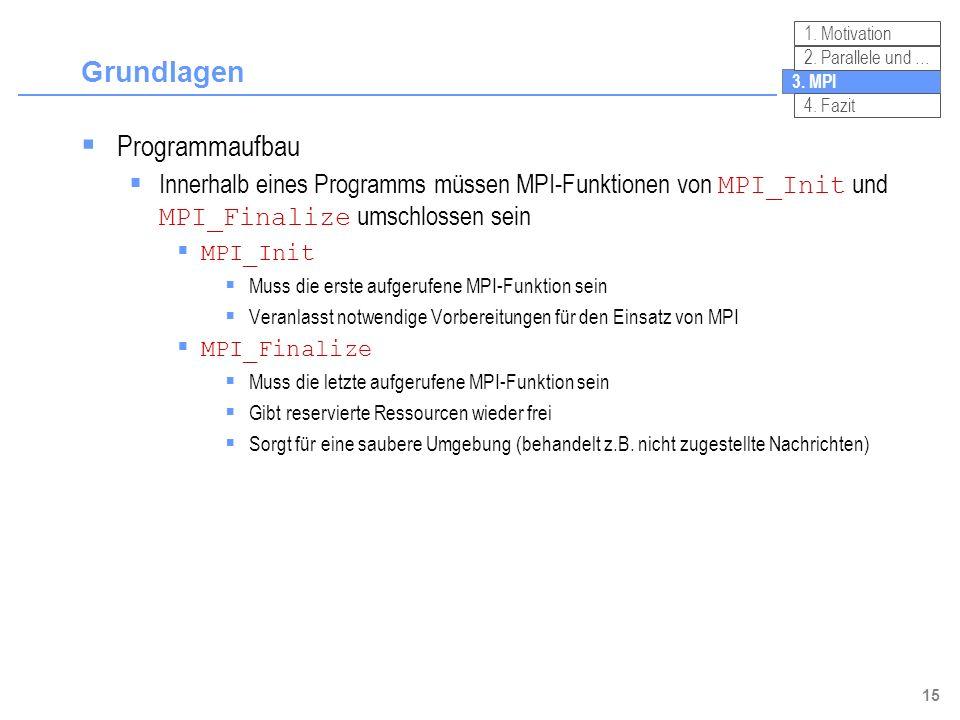 15 Grundlagen Programmaufbau Innerhalb eines Programms müssen MPI-Funktionen von MPI_Init und MPI_Finalize umschlossen sein MPI_Init Muss die erste au