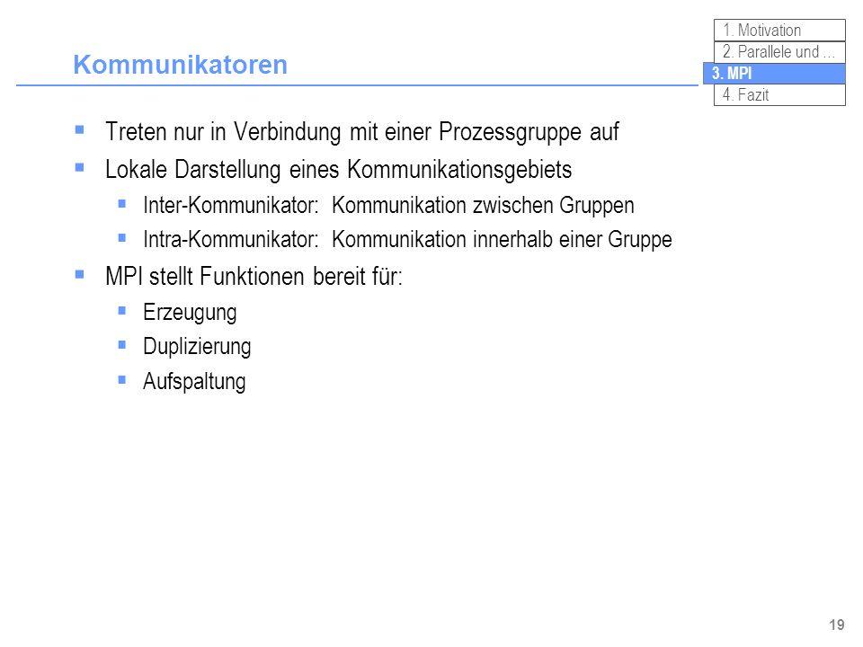 19 Kommunikatoren Treten nur in Verbindung mit einer Prozessgruppe auf Lokale Darstellung eines Kommunikationsgebiets Inter-Kommunikator:Kommunikation