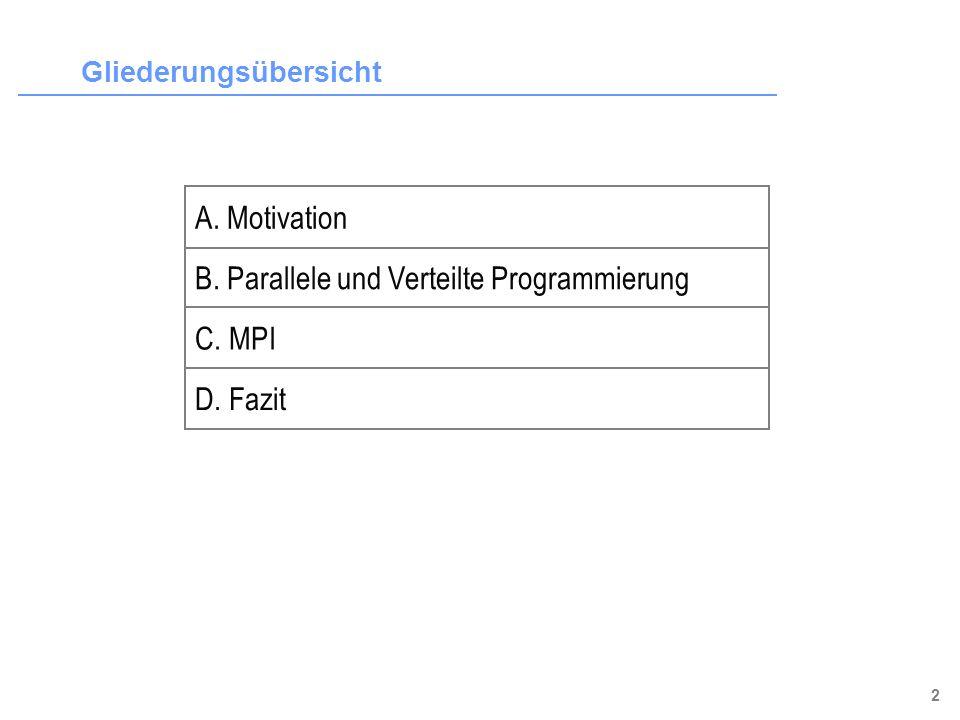 3 Gliederungsübersicht B. Parallele und Verteilte Programmierung C. MPI A. Motivation D. Fazit